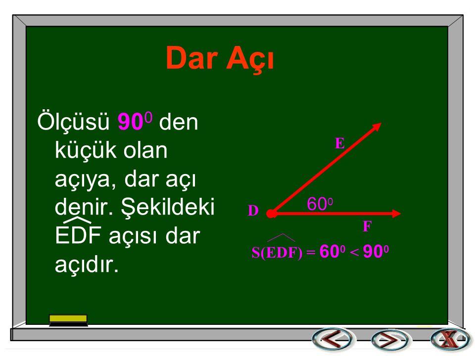 Dar Açı Ölçüsü 900 den küçük olan açıya, dar açı denir. Şekildeki EDF açısı dar açıdır. 600. E. F.