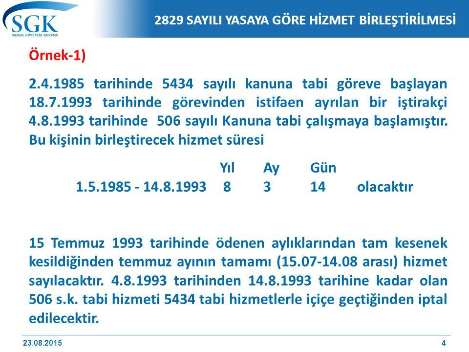 2829 SAYILI YASAYA GÖRE HİZMET BİRLEŞTİRİLMESİ
