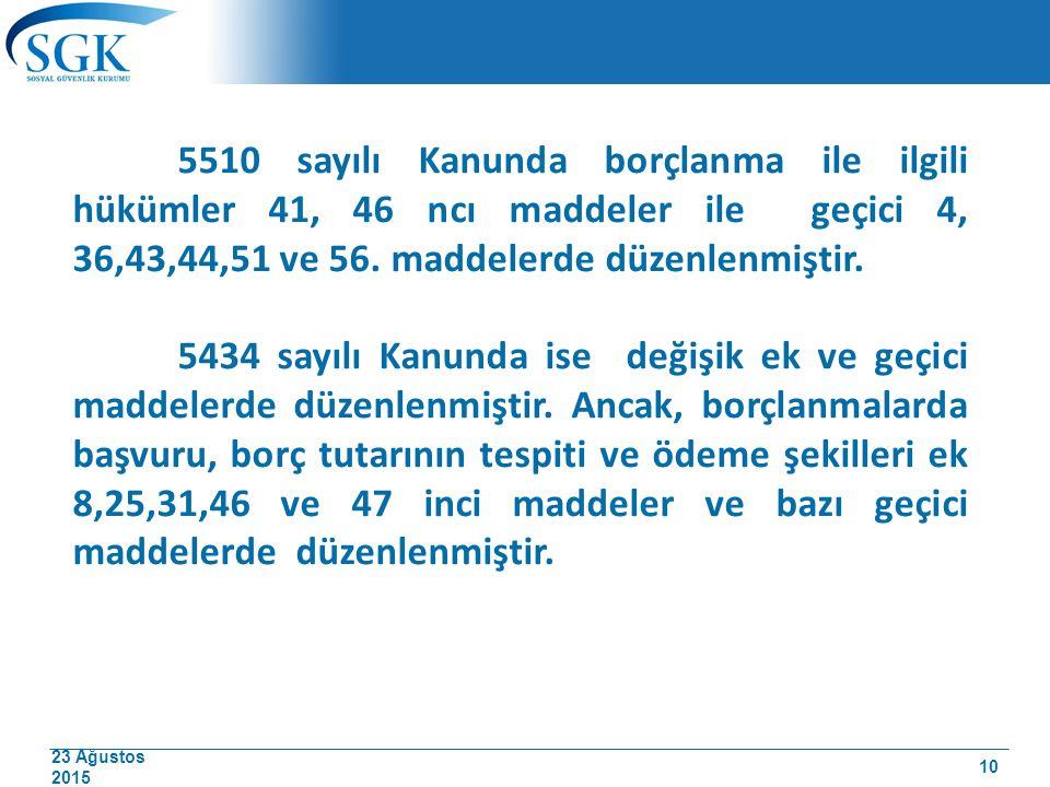 5510 sayılı Kanunda borçlanma ile ilgili hükümler 41, 46 ncı maddeler ile geçici 4, 36,43,44,51 ve 56. maddelerde düzenlenmiştir.