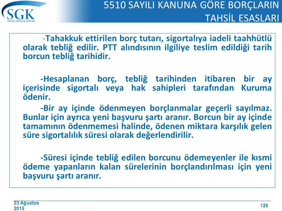 5510 SAYILI KANUNA GÖRE BORÇLARIN TAHSİL ESASLARI