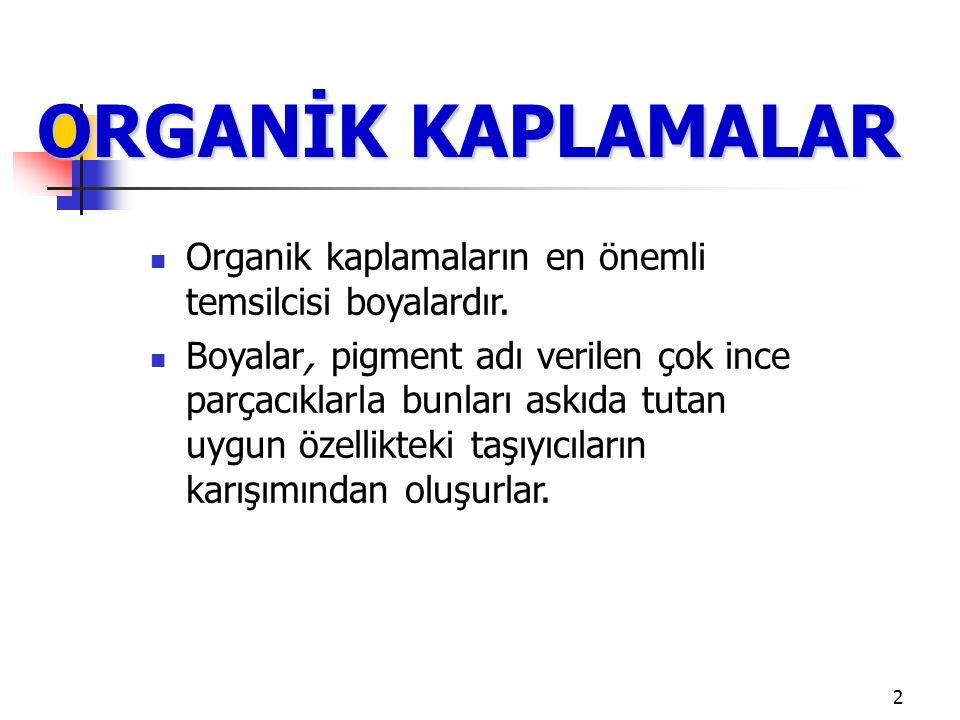 ORGANİK KAPLAMALAR Organik kaplamaların en önemli temsilcisi boyalardır.