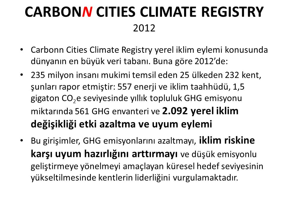 CARBONN CITIES CLIMATE REGISTRY 2012