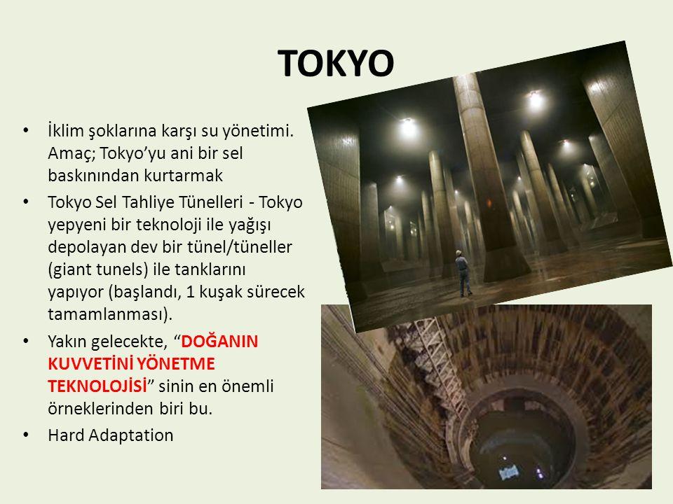 TOKYO İklim şoklarına karşı su yönetimi. Amaç; Tokyo'yu ani bir sel baskınından kurtarmak.