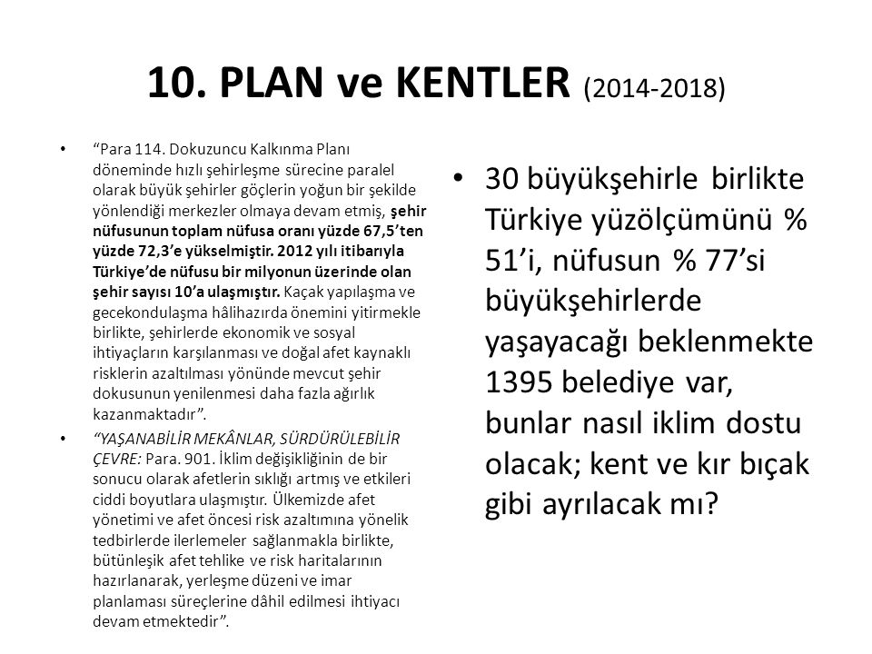 10. PLAN ve KENTLER (2014-2018)