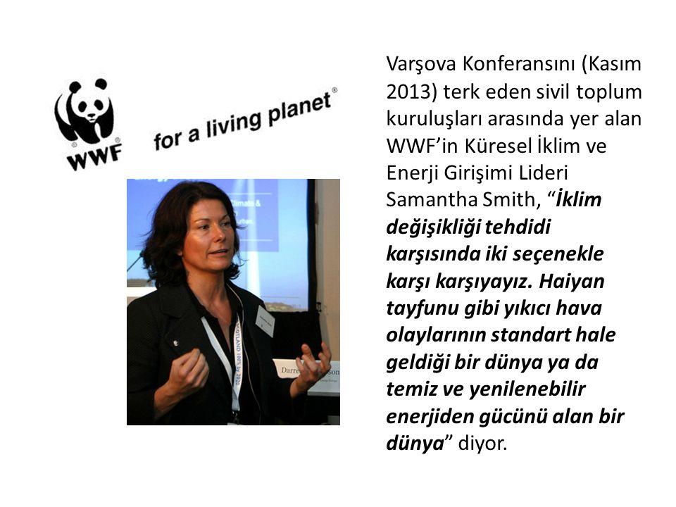 Varşova Konferansını (Kasım 2013) terk eden sivil toplum kuruluşları arasında yer alan WWF'in Küresel İklim ve Enerji Girişimi Lideri Samantha Smith, İklim değişikliği tehdidi karşısında iki seçenekle karşı karşıyayız.