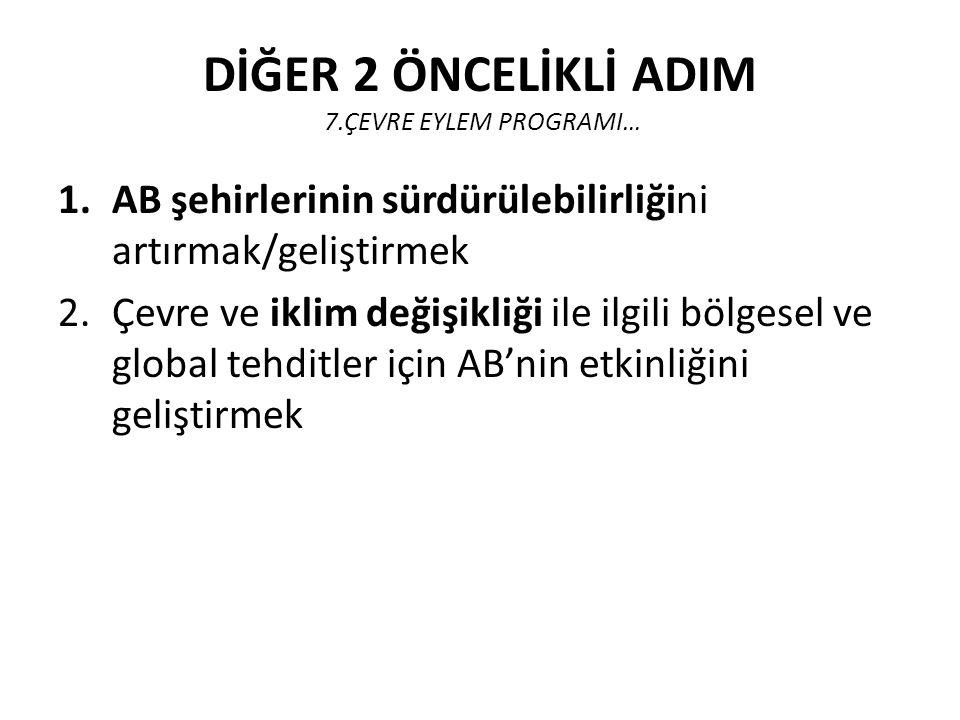 DİĞER 2 ÖNCELİKLİ ADIM 7.ÇEVRE EYLEM PROGRAMI…