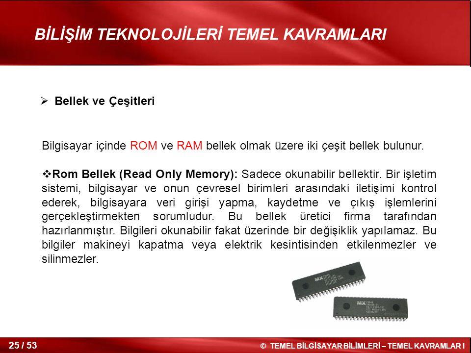 Bellek ve Çeşitleri Bilgisayar içinde ROM ve RAM bellek olmak üzere iki çeşit bellek bulunur.