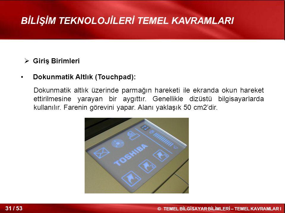 Giriş Birimleri Dokunmatik Altlık (Touchpad):