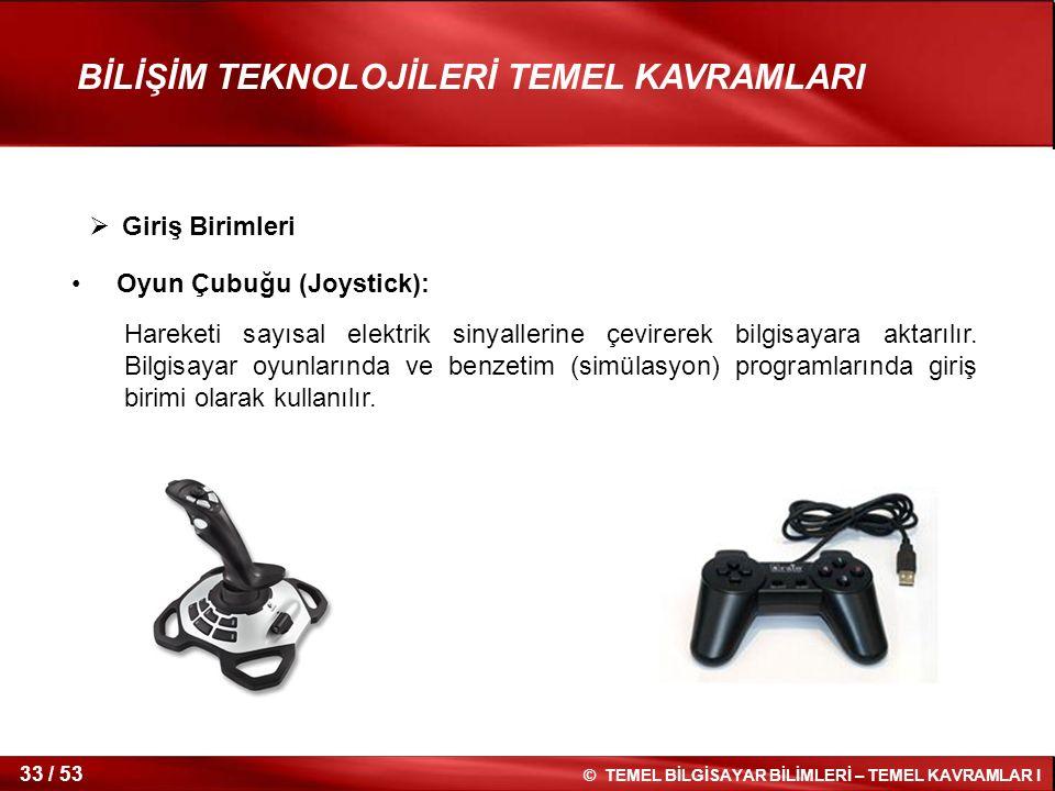 Giriş Birimleri Oyun Çubuğu (Joystick):