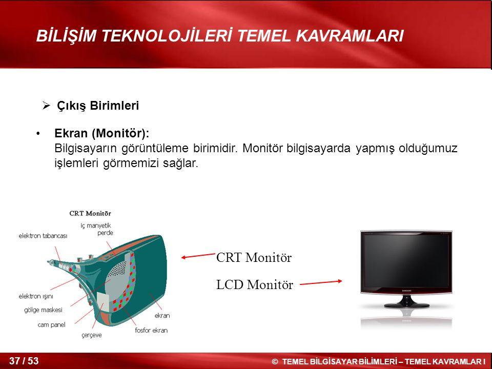 CRT Monitör LCD Monitör Çıkış Birimleri