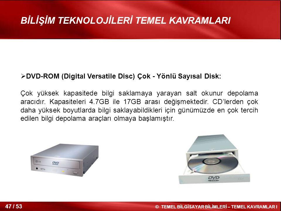 DVD-ROM (Digital Versatile Disc) Çok - Yönlü Sayısal Disk: