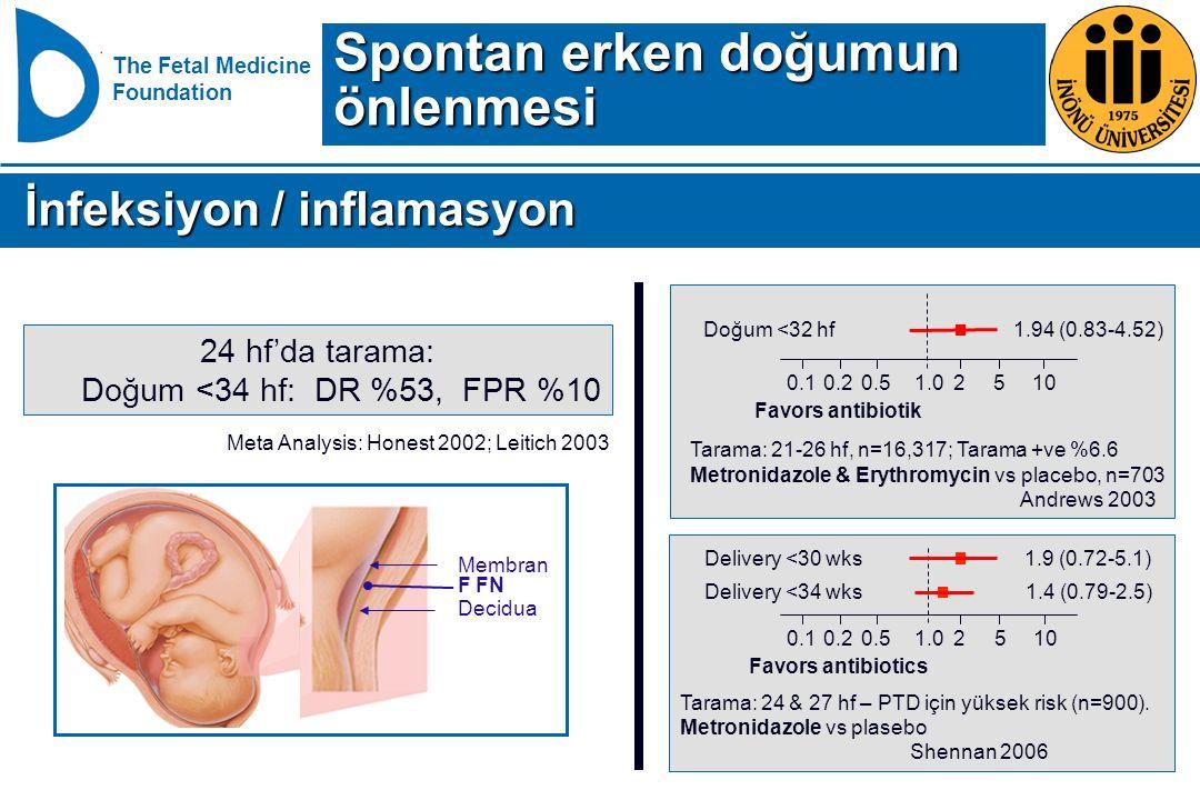 Spontan erken doğumun önlenmesi İnfeksiyon / inflamasyon