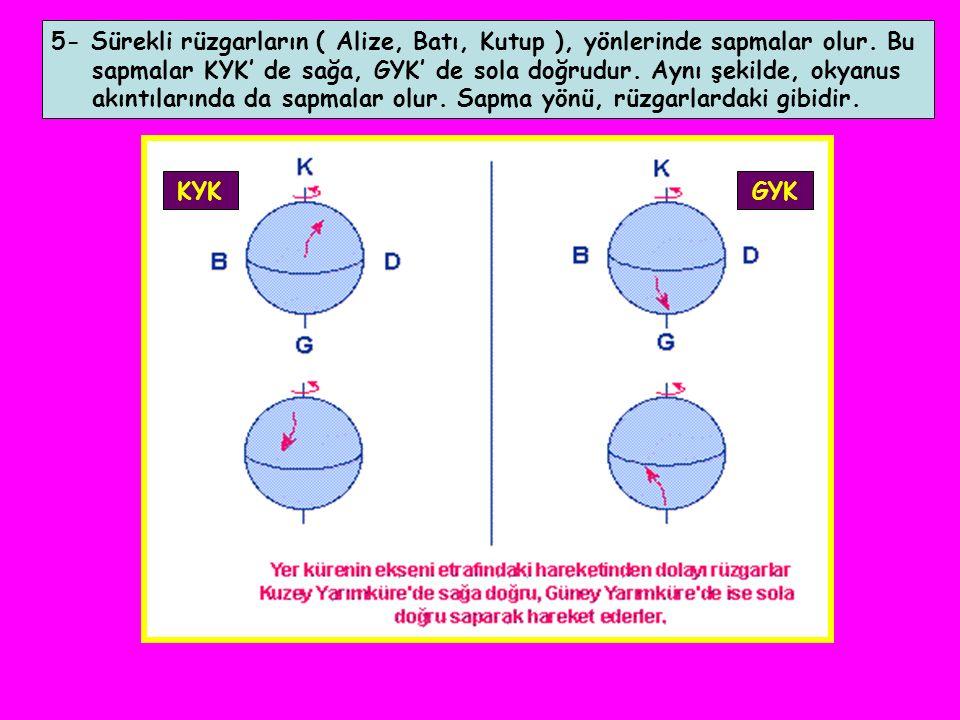5- Sürekli rüzgarların ( Alize, Batı, Kutup ), yönlerinde sapmalar olur. Bu