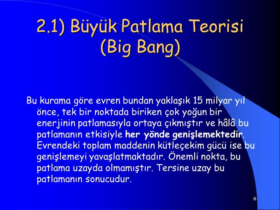 2.1) Büyük Patlama Teorisi (Big Bang)