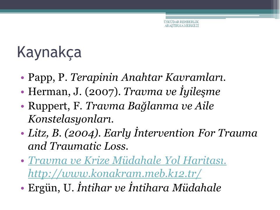Kaynakça Papp, P. Terapinin Anahtar Kavramları.
