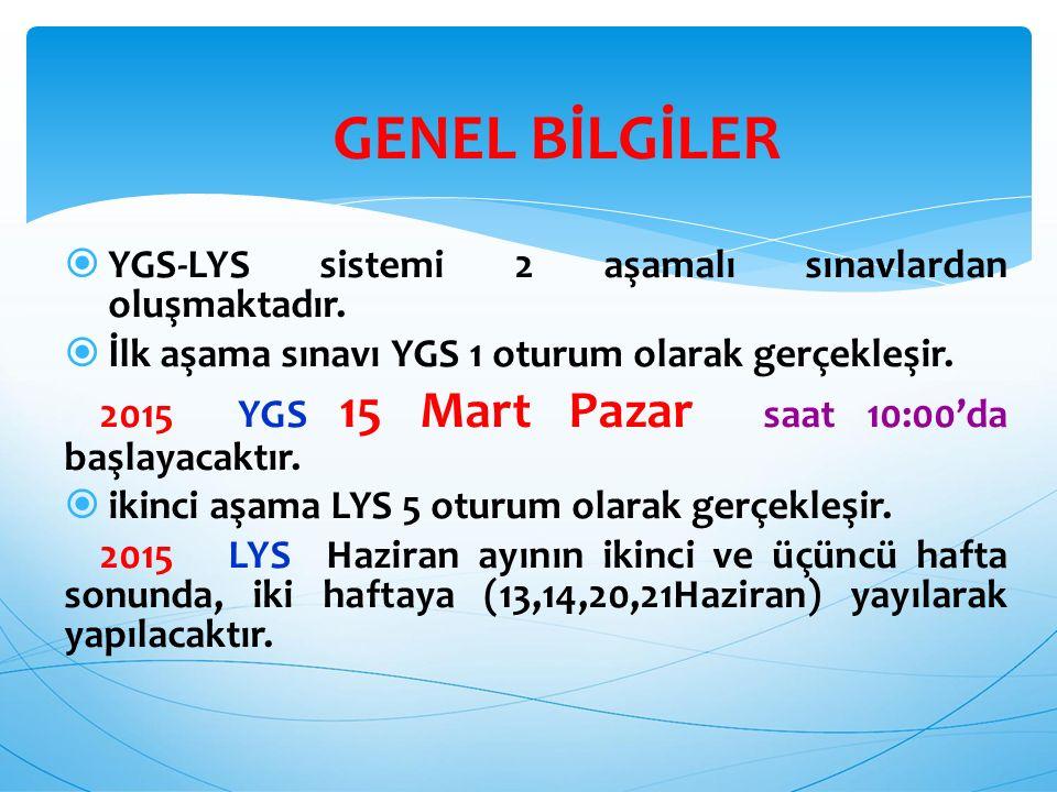 GENEL BİLGİLER YGS-LYS sistemi 2 aşamalı sınavlardan oluşmaktadır.