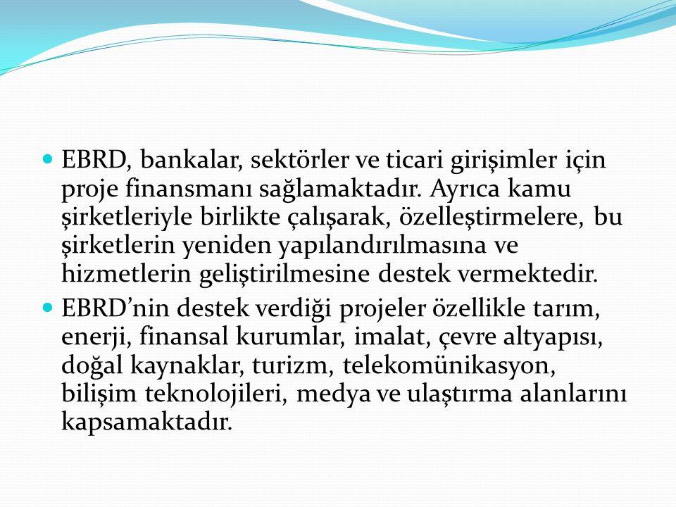 EBRD, bankalar, sektörler ve ticari girişimler için proje finansmanı sağlamaktadır. Ayrıca kamu şirketleriyle birlikte çalışarak, özelleştirmelere, bu şirketlerin yeniden yapılandırılmasına ve hizmetlerin geliştirilmesine destek vermektedir.