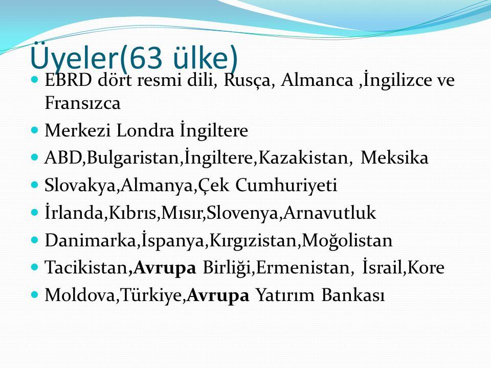 Üyeler(63 ülke) EBRD dört resmi dili, Rusça, Almanca ,İngilizce ve Fransızca. Merkezi Londra İngiltere.