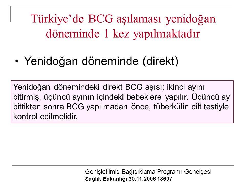 Türkiye'de BCG aşılaması yenidoğan döneminde 1 kez yapılmaktadır