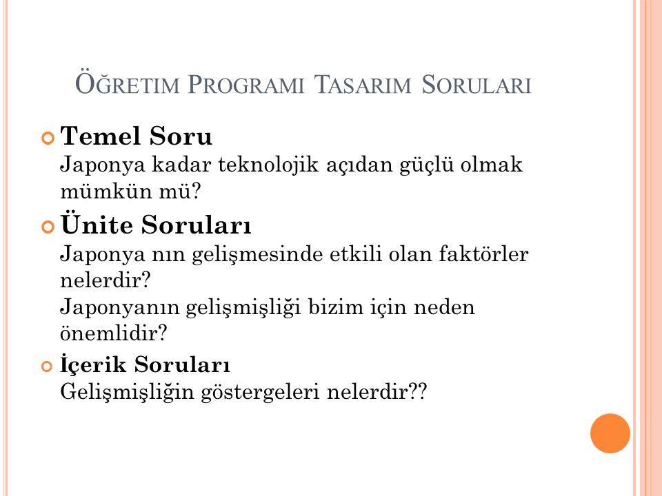 Öğretim Programi Tasarim Sorulari