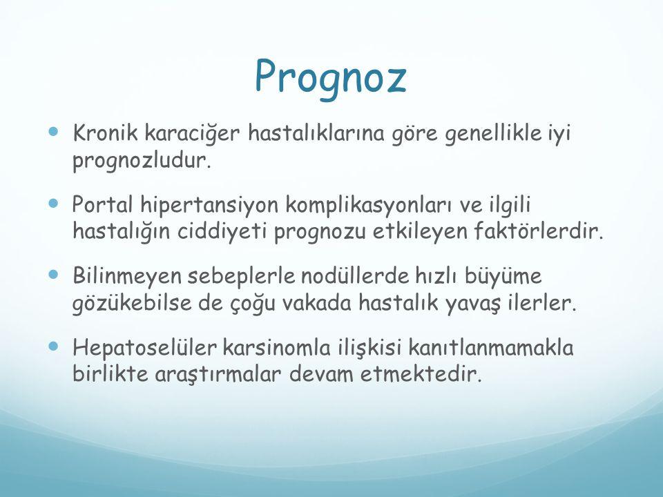 Prognoz Kronik karaciğer hastalıklarına göre genellikle iyi prognozludur.