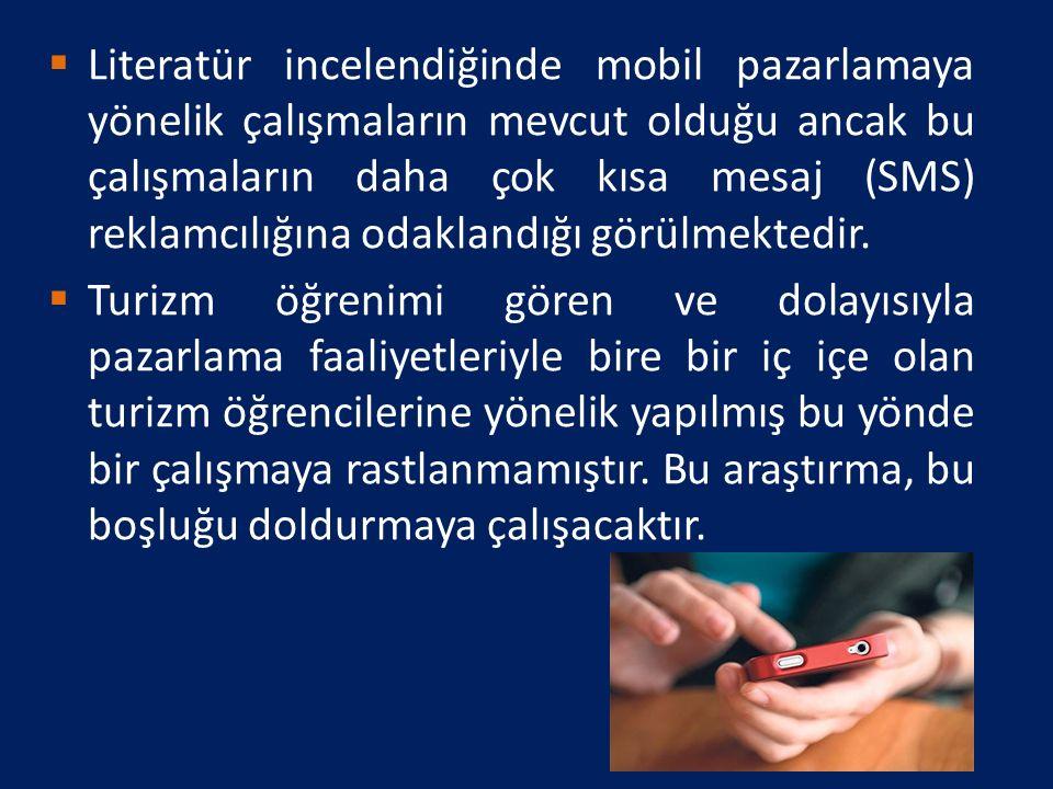 Literatür incelendiğinde mobil pazarlamaya yönelik çalışmaların mevcut olduğu ancak bu çalışmaların daha çok kısa mesaj (SMS) reklamcılığına odaklandığı görülmektedir.
