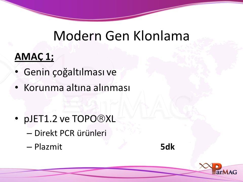 Modern Gen Klonlama AMAÇ 1; Genin çoğaltılması ve