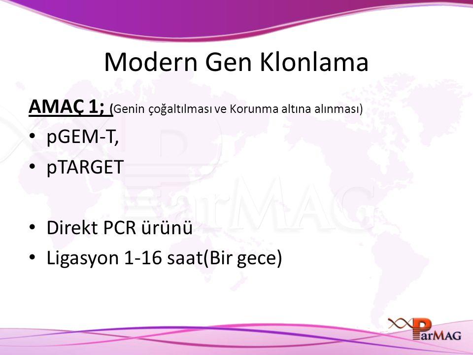 Modern Gen Klonlama AMAÇ 1; (Genin çoğaltılması ve Korunma altına alınması) pGEM-T, pTARGET. Direkt PCR ürünü.