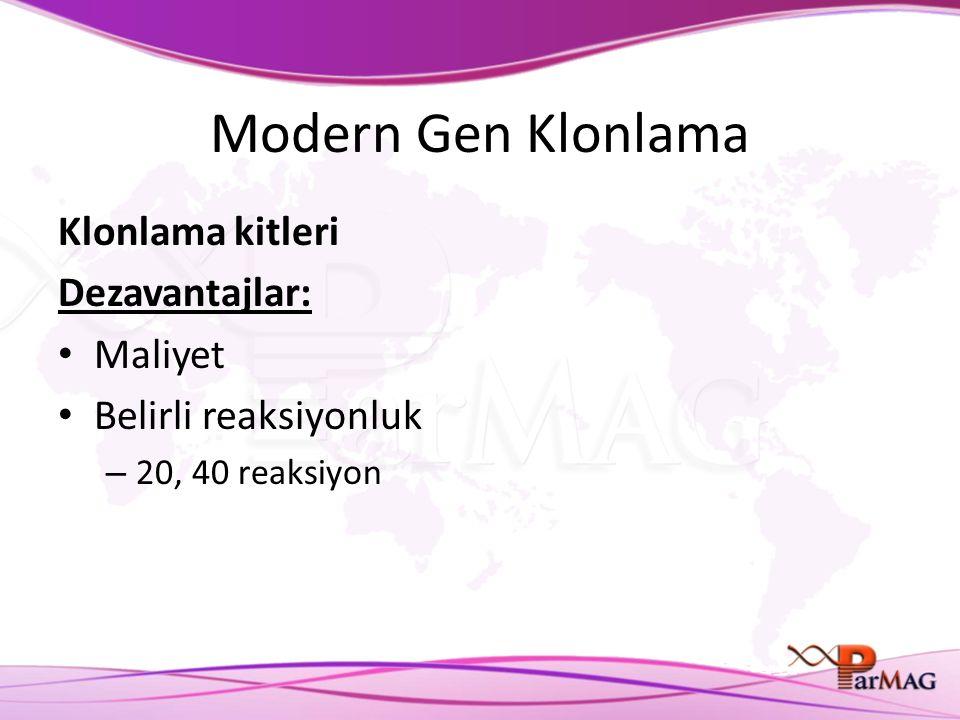 Modern Gen Klonlama Klonlama kitleri Dezavantajlar: Maliyet