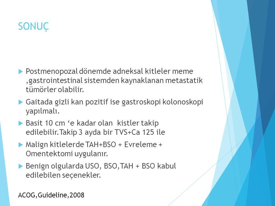 SONUÇ Postmenopozal dönemde adneksal kitleler meme ,gastrointestinal sistemden kaynaklanan metastatik tümörler olabilir.