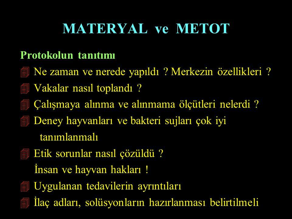 MATERYAL ve METOT Protokolun tanıtımı