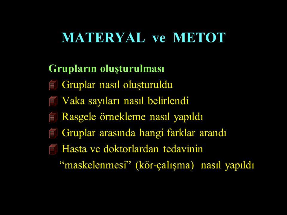 MATERYAL ve METOT Grupların oluşturulması Gruplar nasıl oluşturuldu