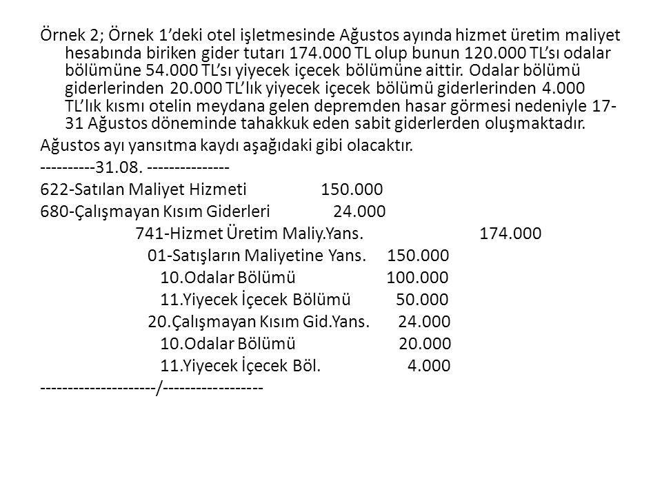 Örnek 2; Örnek 1'deki otel işletmesinde Ağustos ayında hizmet üretim maliyet hesabında biriken gider tutarı 174.000 TL olup bunun 120.000 TL'sı odalar bölümüne 54.000 TL'sı yiyecek içecek bölümüne aittir.