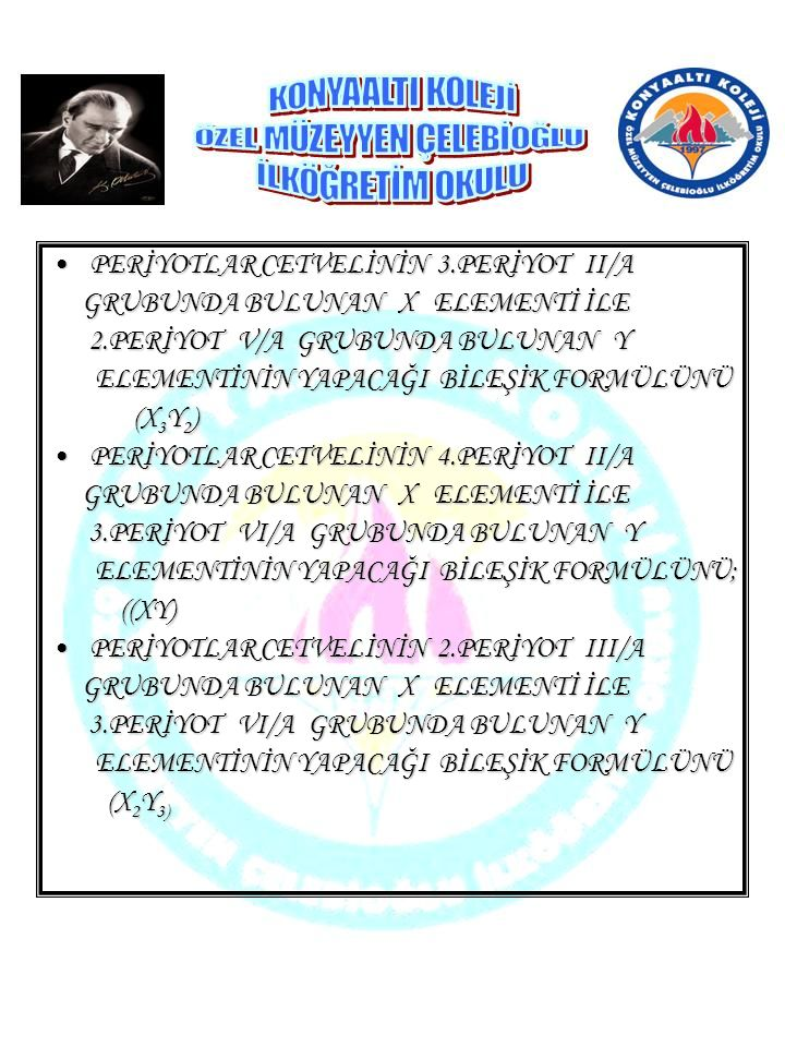 PERİYOTLAR CETVELİNİN 3.PERİYOT II/A
