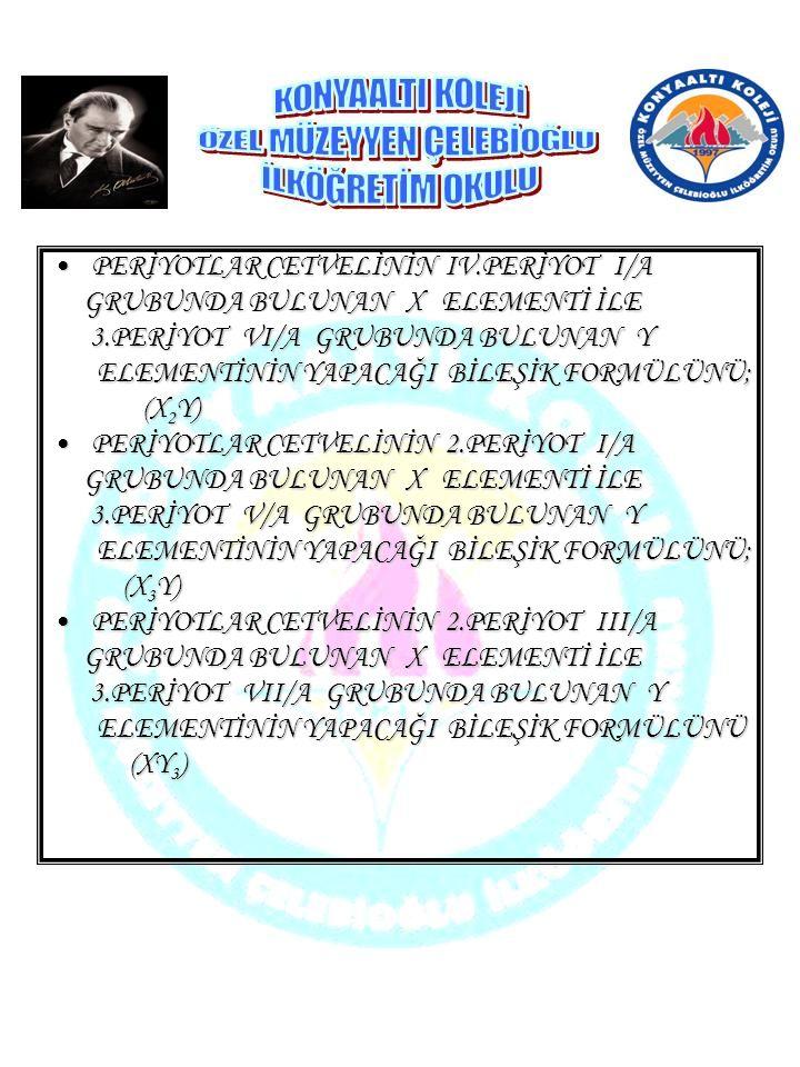 PERİYOTLAR CETVELİNİN IV.PERİYOT I/A