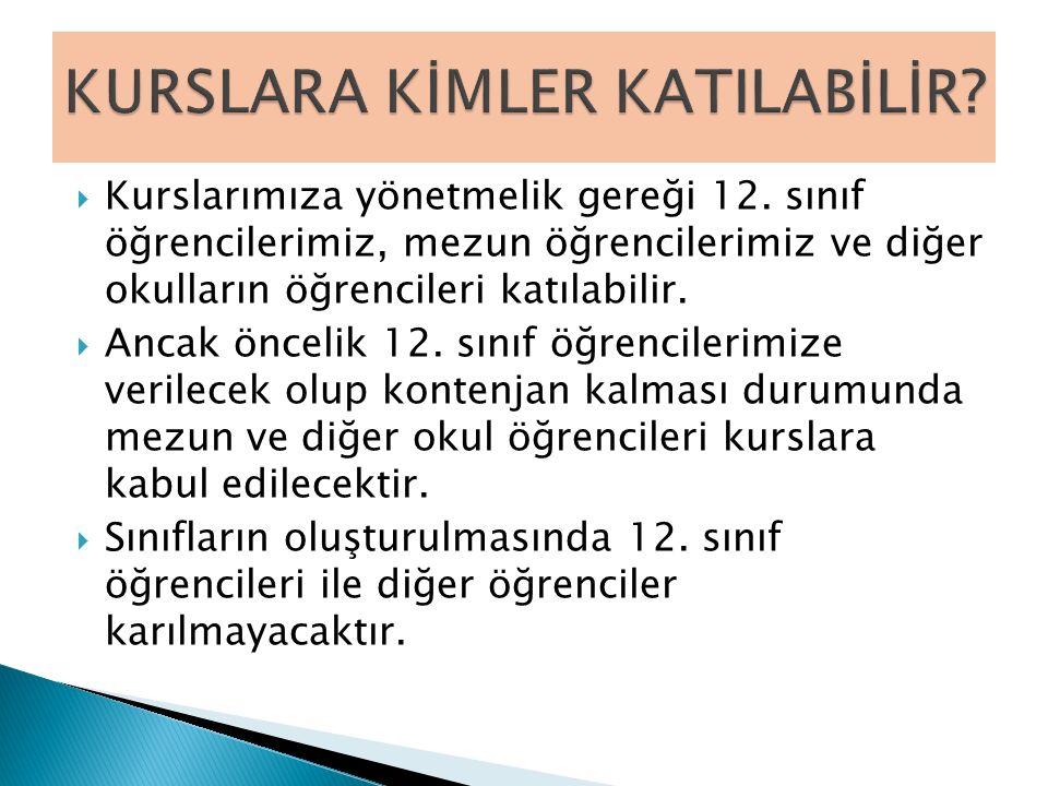 KURSLARA KİMLER KATILABİLİR