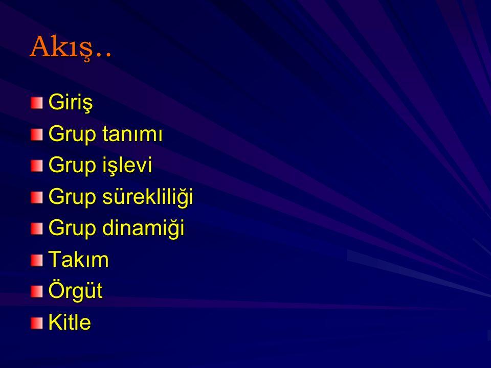 Akış.. Giriş Grup tanımı Grup işlevi Grup sürekliliği Grup dinamiği