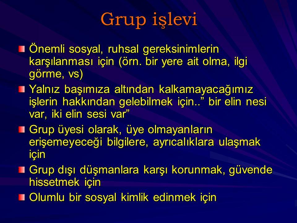 Grup işlevi Önemli sosyal, ruhsal gereksinimlerin karşılanması için (örn. bir yere ait olma, ilgi görme, vs)