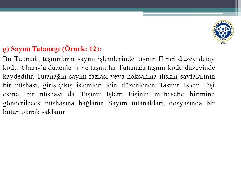 g) Sayım Tutanağı (Örnek: 12):