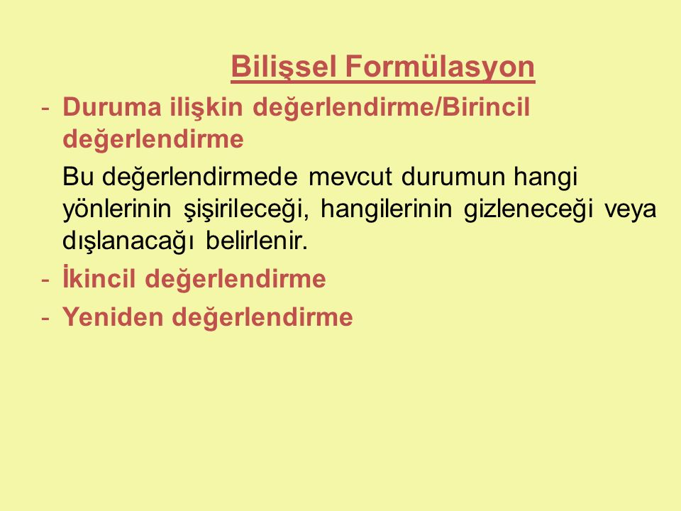 Bilişsel Formülasyon Duruma ilişkin değerlendirme/Birincil değerlendirme.