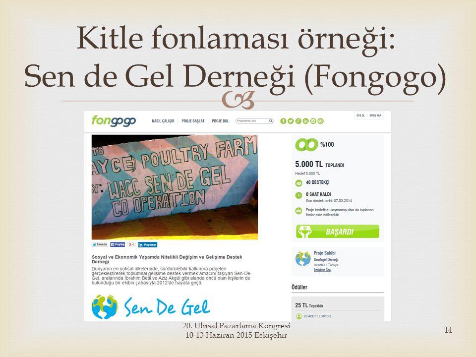 Kitle fonlaması örneği: Sen de Gel Derneği (Fongogo)