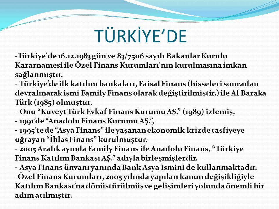 TÜRKİYE'DE Türkiye de 16.12.1983 gün ve 83/7506 sayılı Bakanlar Kurulu Kararnamesi ile Özel Finans Kurumları nın kurulmasına imkan sağlanmıştır.