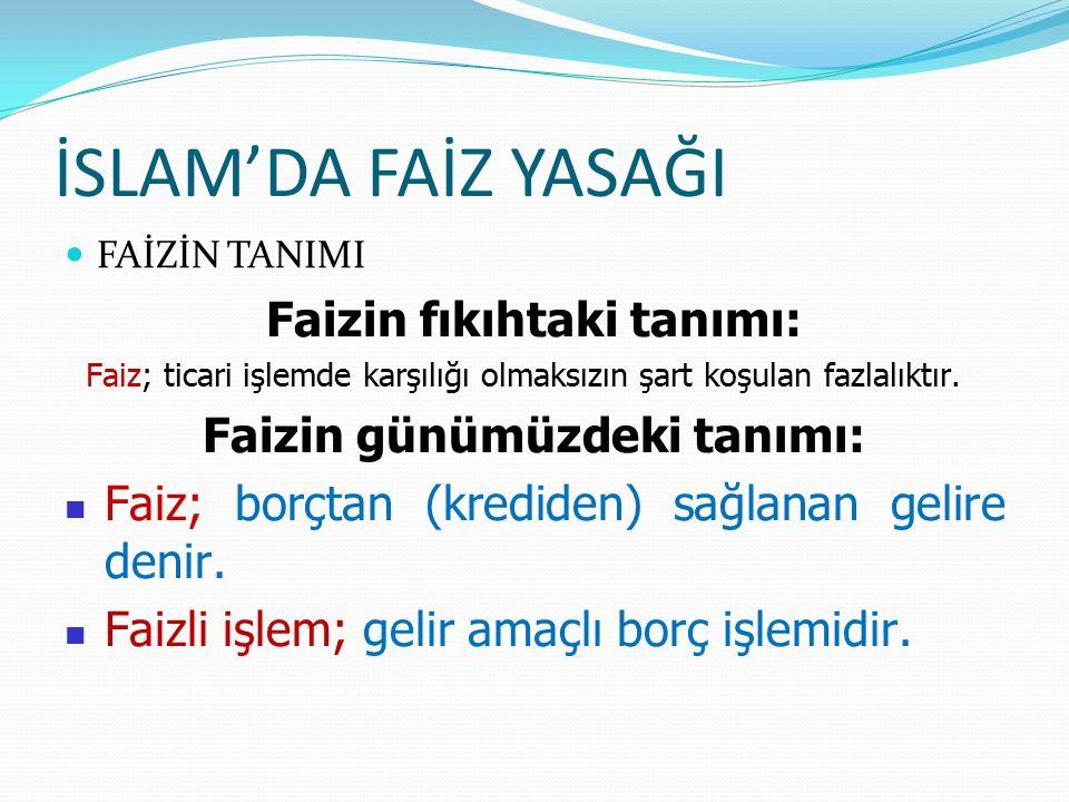 Faizin günümüzdeki tanımı: