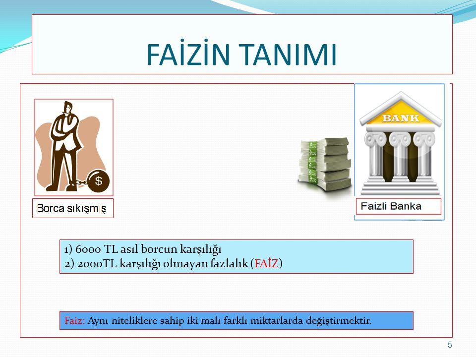 FAİZİN TANIMI 1) 6000 TL asıl borcun karşılığı