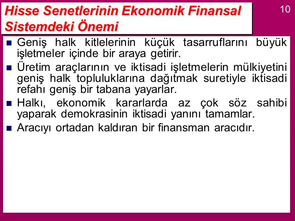 Hisse Senetlerinin Ekonomik Finansal Sistemdeki Önemi