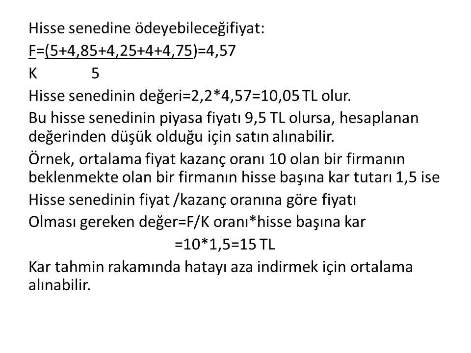 Hisse senedine ödeyebileceğifiyat: F=(5+4,85+4,25+4+4,75)=4,57 K 5 Hisse senedinin değeri=2,2*4,57=10,05 TL olur.