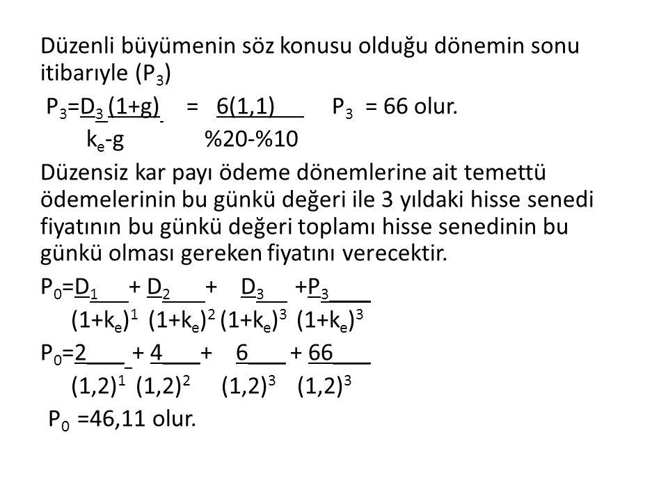 Düzenli büyümenin söz konusu olduğu dönemin sonu itibarıyle (P3) P3=D3 (1+g) = 6(1,1) P3 = 66 olur.