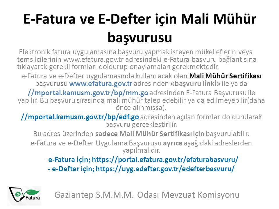 E-Fatura ve E-Defter için Mali Mühür başvurusu