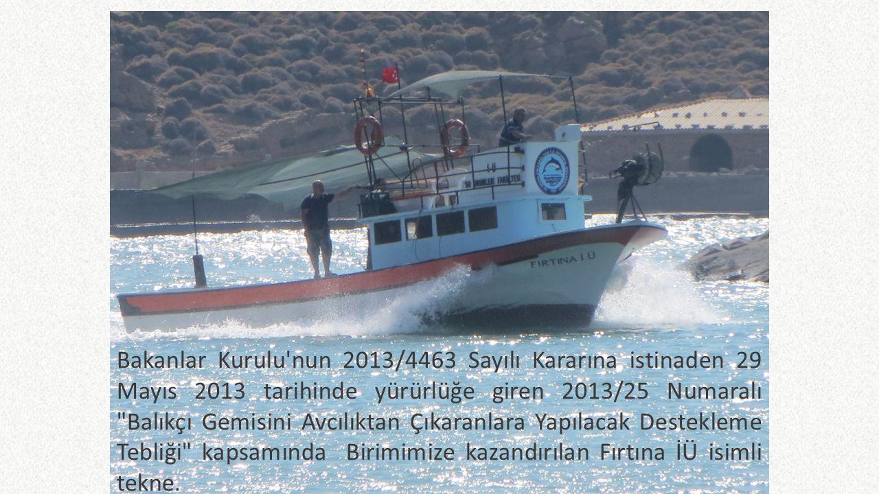 Bakanlar Kurulu nun 2013/4463 Sayılı Kararına istinaden 29 Mayıs 2013 tarihinde yürürlüğe giren 2013/25 Numaralı Balıkçı Gemisini Avcılıktan Çıkaranlara Yapılacak Destekleme Tebliği kapsamında Birimimize kazandırılan Fırtına İÜ isimli tekne.