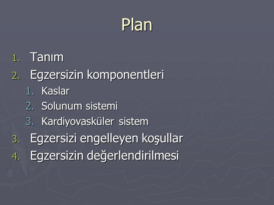 Plan Tanım Egzersizin komponentleri Egzersizi engelleyen koşullar